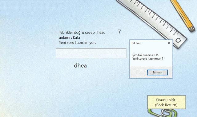 C# ingilizce Kelime Tahmin Oyunu Kodlarıyla Access Veritabanı