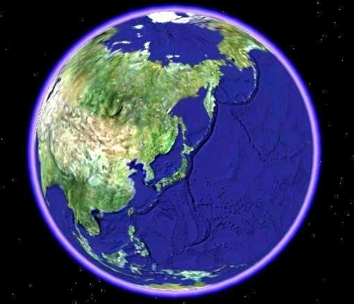 日本を中心とした地球儀 「写真」日本を中心とした地球儀 日本列島を中心として地球儀を見てみると.