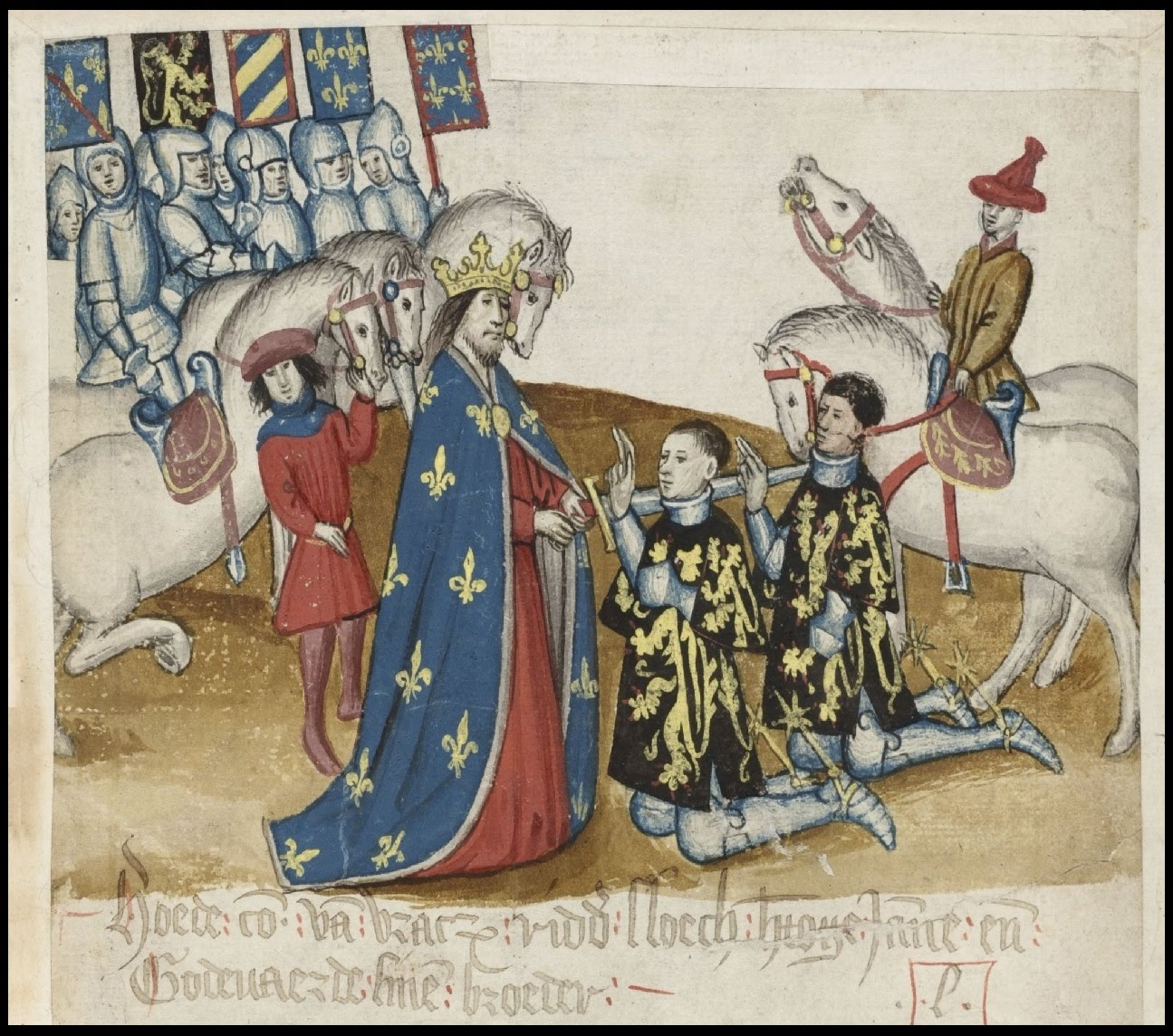 medieval scene of nobleman dubbing knights