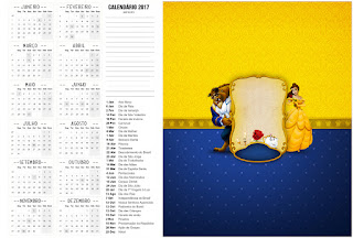 Calendario 2017 para imprimir gratis de Fiesta de La Bella y la Bestia.