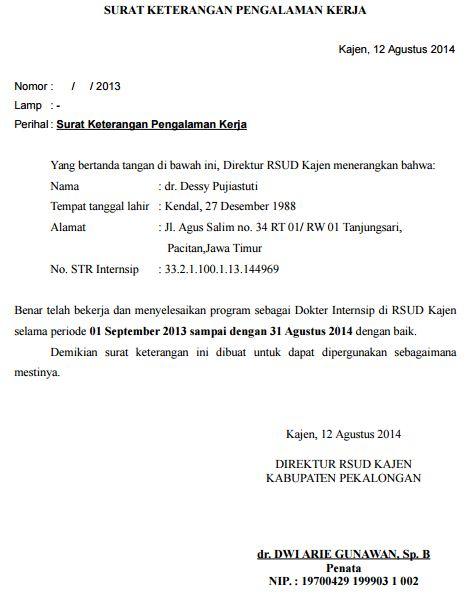 SURAT KETERANGAN PENGALAMAN KERJA Dokter Rumah Sakit Dr. Sutomo Surabaya