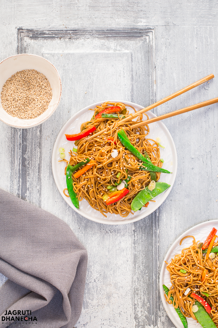 Instant Pot Chinese Vegetable Chow Mein! It's so quick to make and packed with flavours and textures. Also not to forget it is vegan too. If you want to serve this dish on Chinese New Year, make sure you make lots of it because it is downright delicious!!