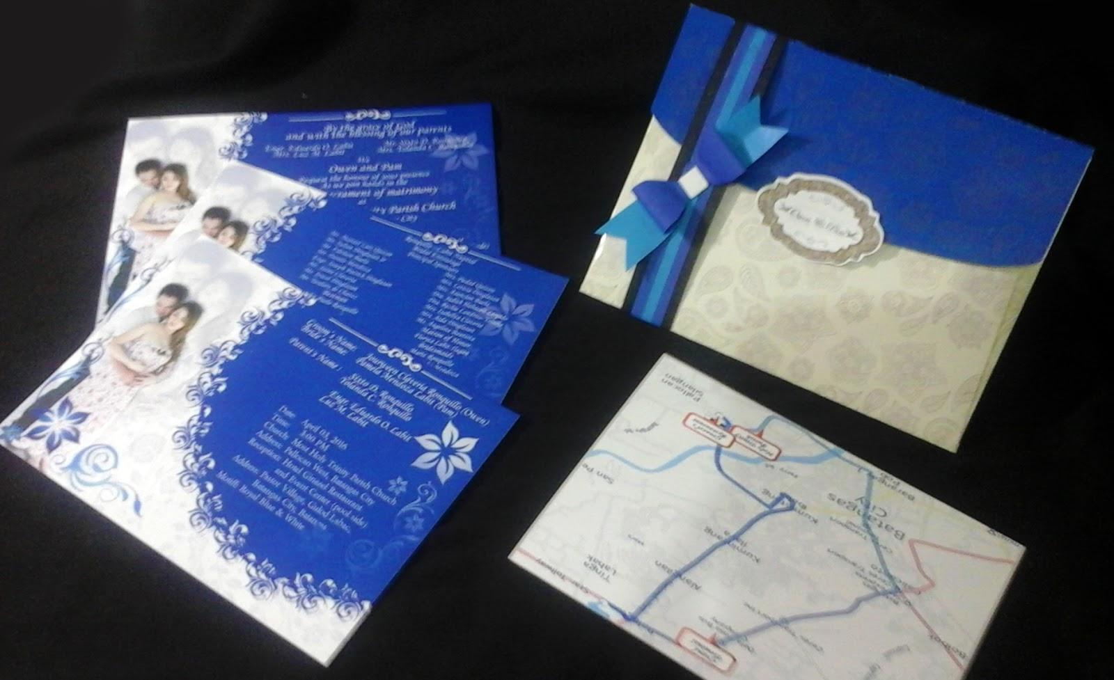 wedding invitations elegant in royal blue motif stain art
