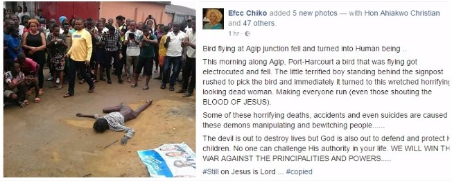 """Flying Bird Falls & Turns Into A Woman In Port Harcourt"" - Lady Claims (Pics)"