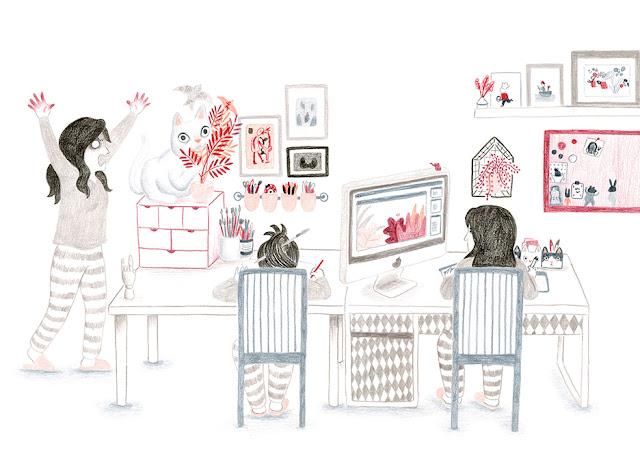 Mar Villar, estudio, gato, mesa de trabajo