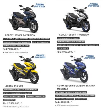 Harga Motor Yamaha aerox 155 VVA