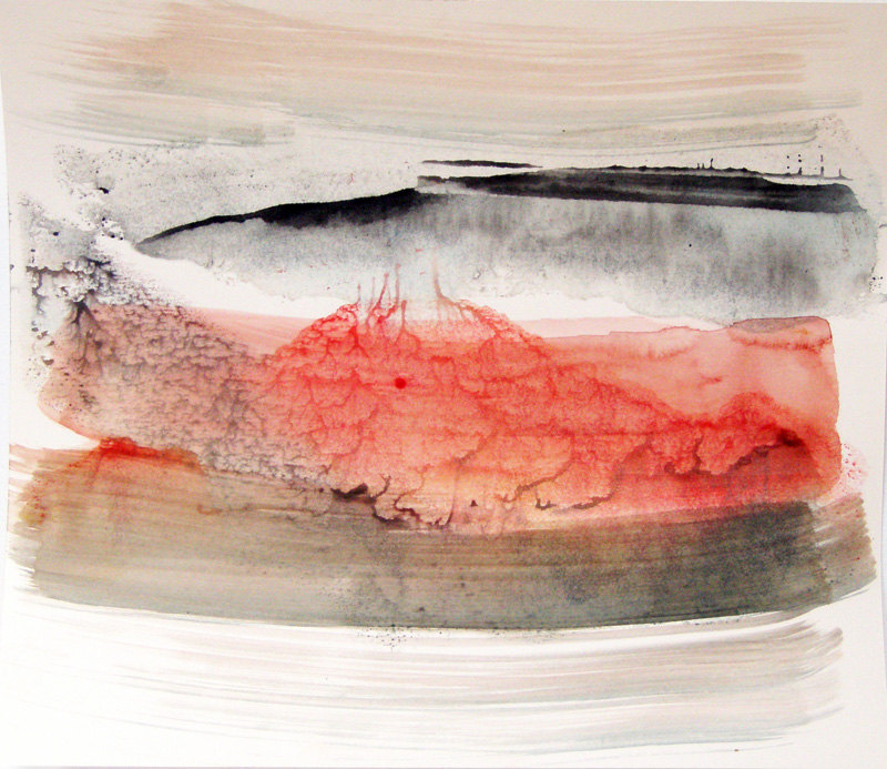 abstract contemporary accent minimal watercolor painting series intense red grey black landscape hill volcano
