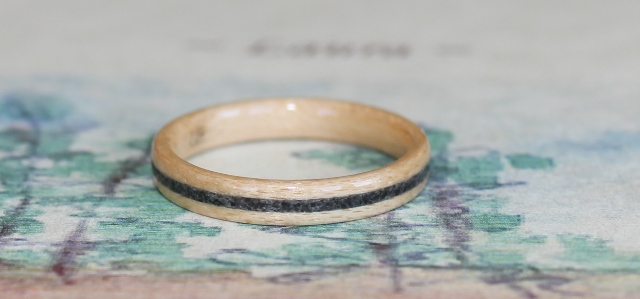 Birch Wood Ring with river stone inlay