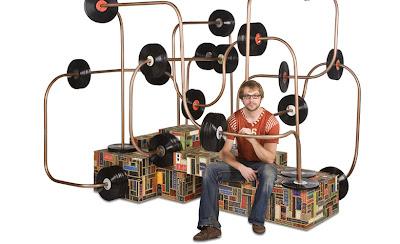 Sillón Abaco o contador con discos de acetato.