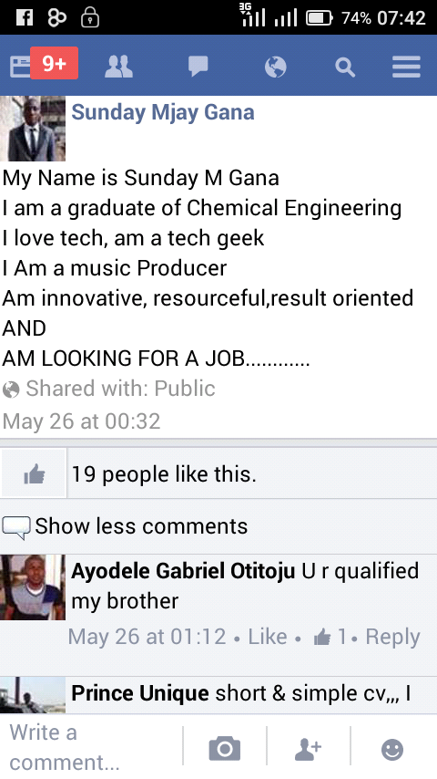 Photos: A Facebook User is Looking for a Job.