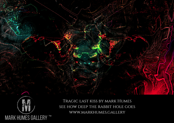 """Tragic last kiss."" is digital abstract art created by Mark Humes; using a color palette of black, blue, red, orange, yellow and purple. Depicting a man kissing a woman on the cheek overlayed by the silhouette of a deaths head hawk moth featuring cryptic images in the background of a tribal warrior, a rooster and small man standing in the eye of this kissing man."