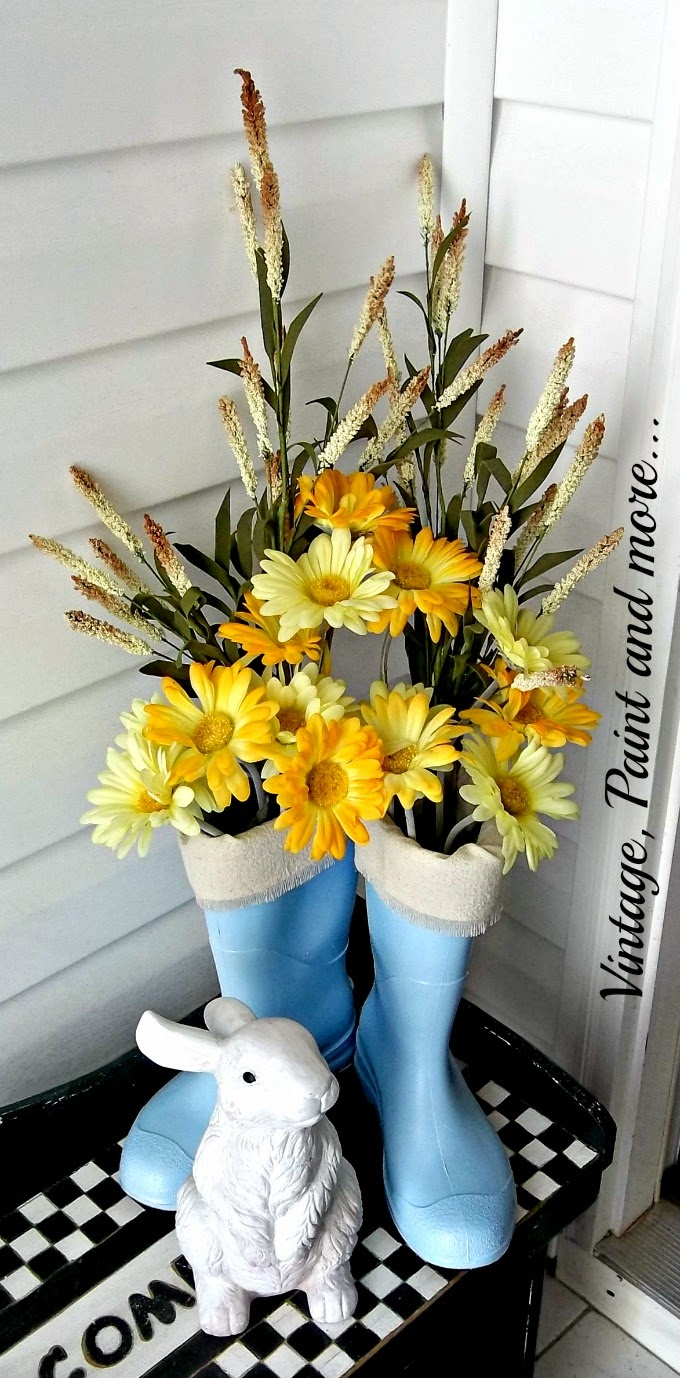 Spring Entryway - bunny and painted boot vignette