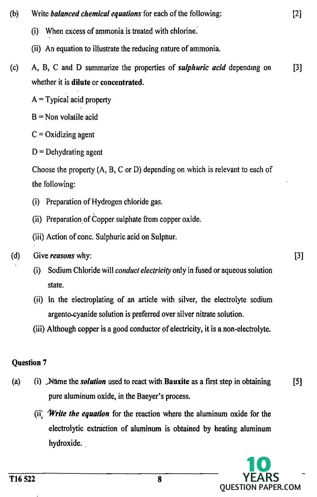 icse 2016 class 10th science chemistry paper 2 question paper