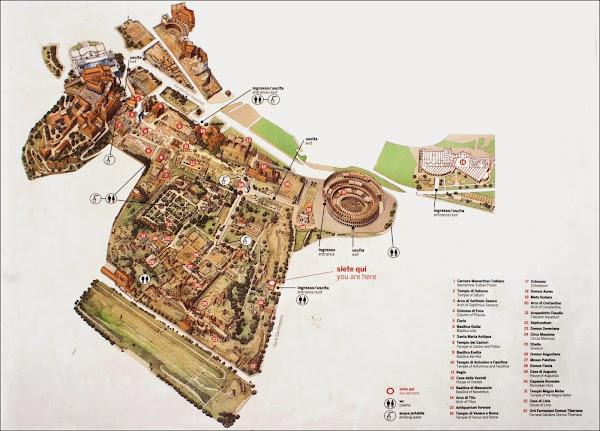 Plan touristique du Mont Palatin , du Forum Romain et du Colisée à Rome