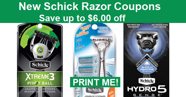 Schick Razor Coupons - Save up to $6.00 off - PRINT NOW!
