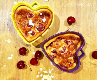 image Clafoutis aux cerises sans lactose : crème de soja et lait d'amandes grillées