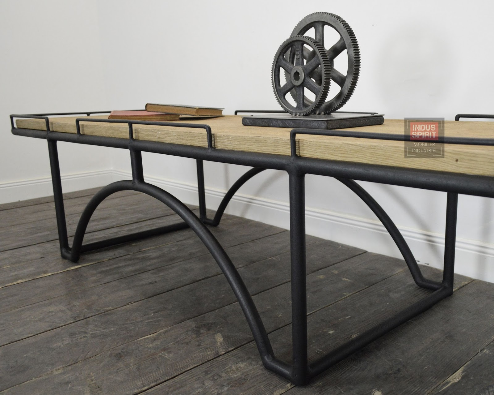 Table basse design industriel bois et m tal - Table bois metal industriel ...