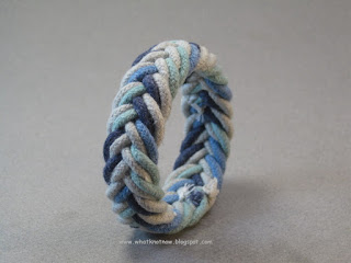 rope bracelet herringbone weave blue mixed color hand dyed cord