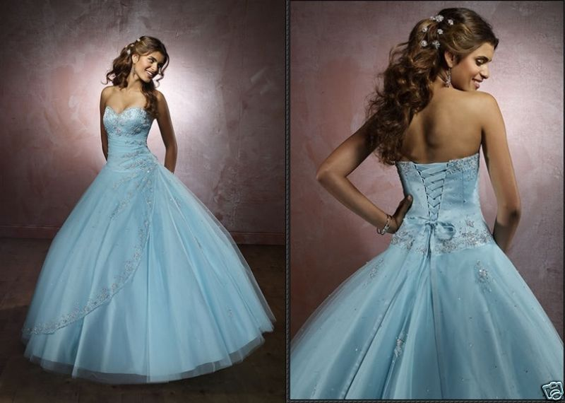 Blue Wedding Gowns: Big Blue Wedding Dresses Design With Ribbon And Pearl