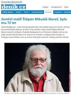 Zemřel Štěpán Mikuláš Mareš - grafik a malíř,