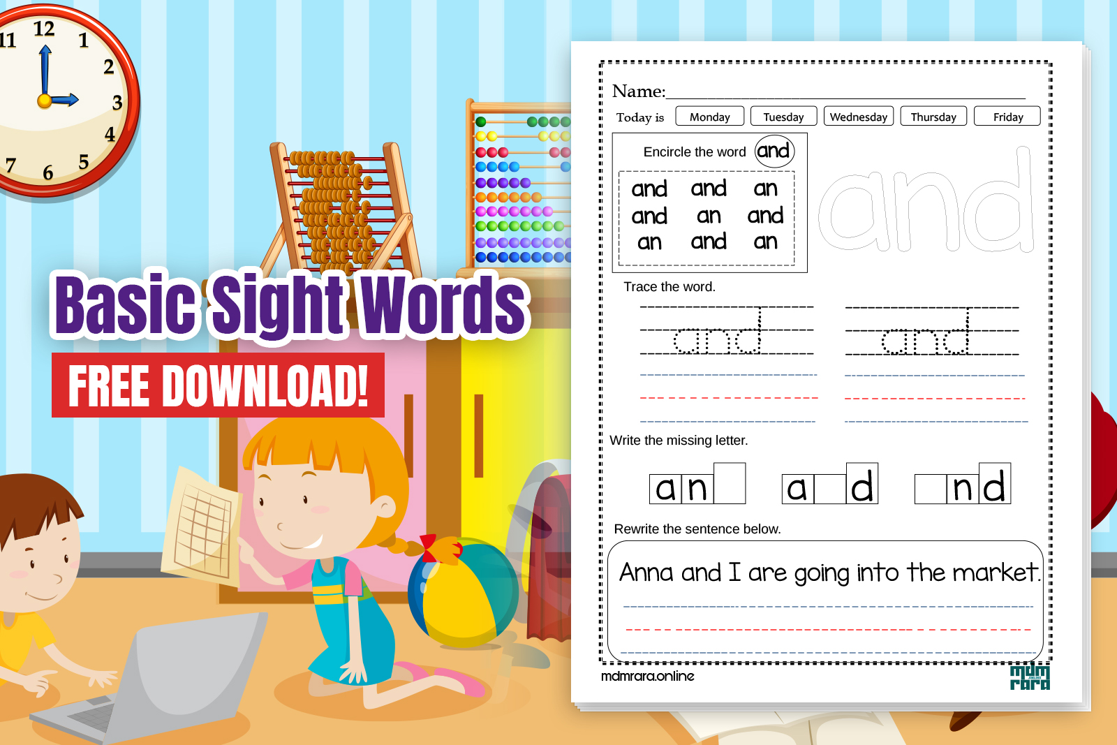 Basic Sight Words Worksheets