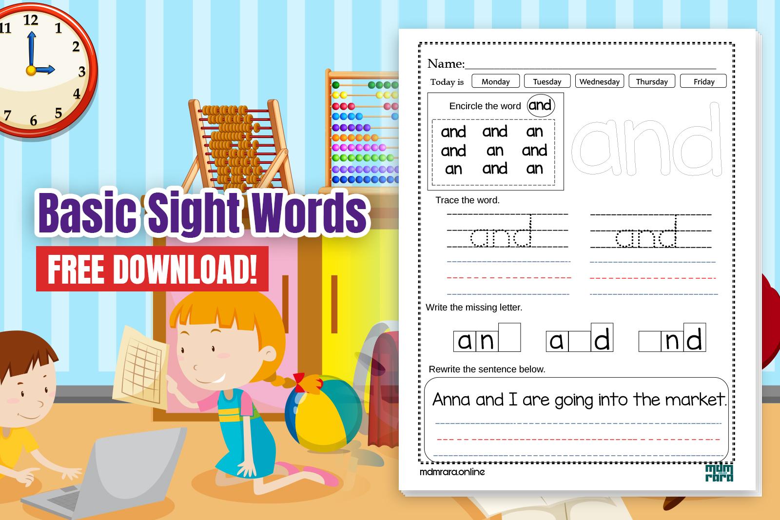 Basic Sight Words Worksheets