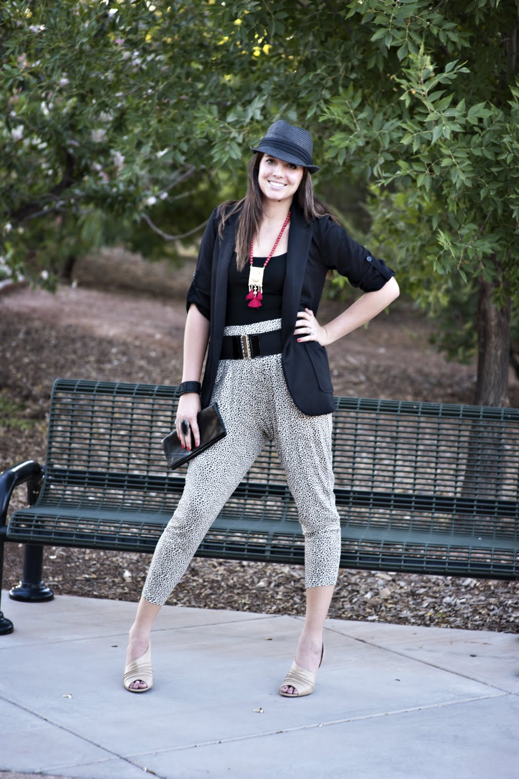 Black Hat, Black Blazer, Leopard Print Pants