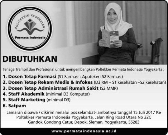 lowongan dosen dan pegawai poltekkes permata indonesia yogyakarta