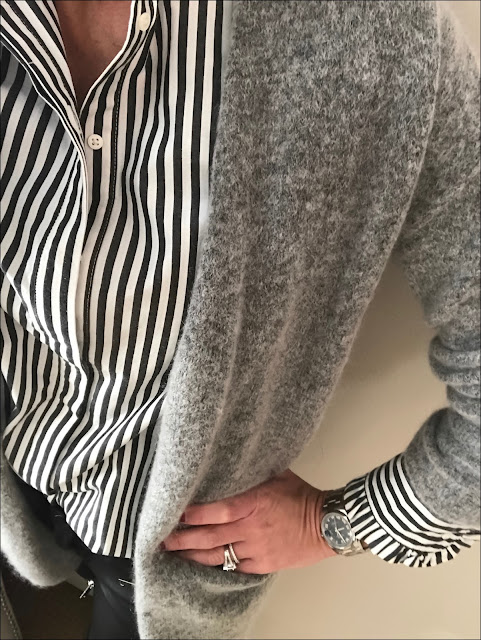 My Midlife Fashion, H&M cotton stripe ruffle shirt, hm mohair cardigan, zara faux leather biker trousers, boden leopard print pixie boots