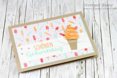 Stampinup Eisstempelset; Eiskarte Geburtstag; Matchthesketch, Stempelparty Recklinghausen; Bastelworkshops Recklinghausen; Stempel-biene