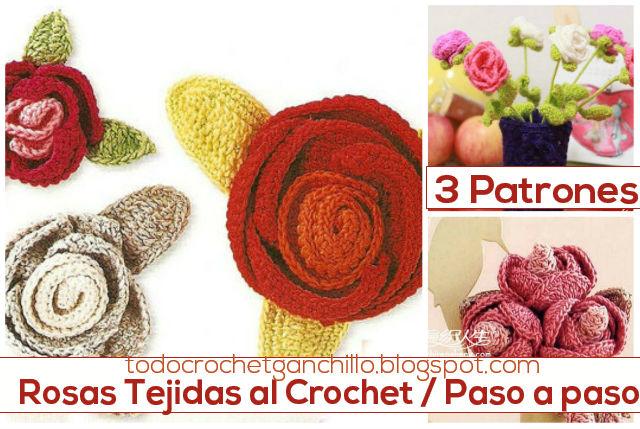 Patrones de rosas tejidas al crochet