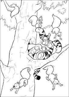 Tigger Playing With Squirrel Coloring Pages Cartoon