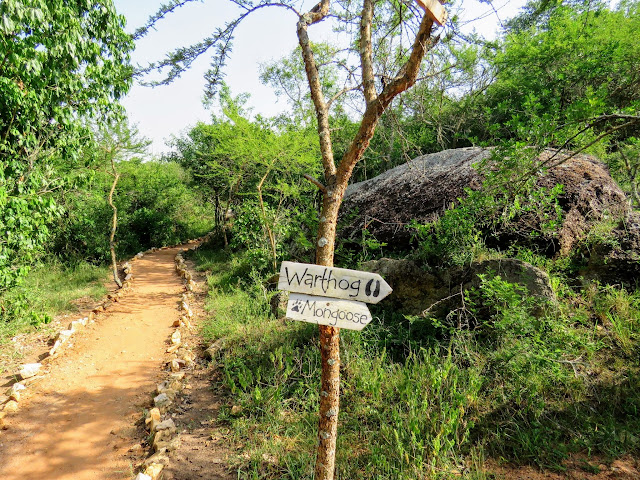 Signs pointing to the rooms at Rwakobo Lodge in Uganda