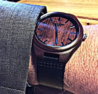 Rosewood Watch for Men with a Black Leather Band
