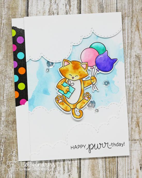 Happy Purr-thday Card by Holly Endress | Newton's Birthday Balloons Stamp set and Sky Borders Die Set by Newton's Nook Designs #newtonsnook #handmade