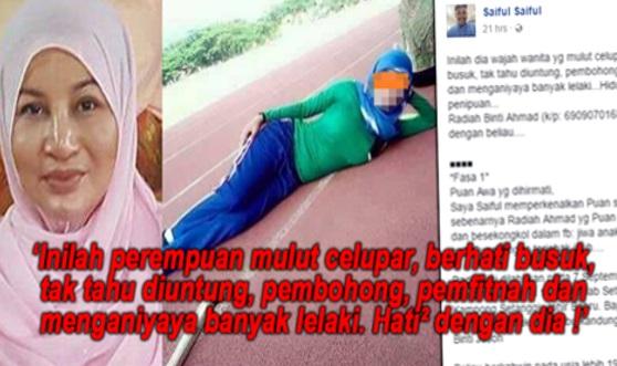 'Perempuan Mulut Celupar , Pembohong ! Penganiaya Banyak Lelaki ! Hati² Dengan Dia !'-Saiful Saiful