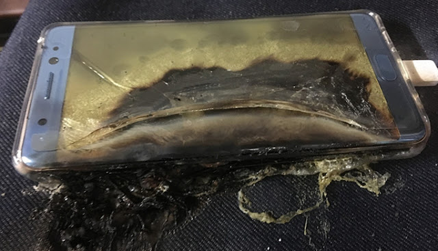 بالصور.. انفجار هاتف سامسونغ غالاكسى نوت 7 خلال شحنه.