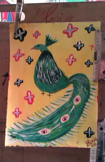 """poster art sketch of peacock "" by Gloria Poole; yr 2006"