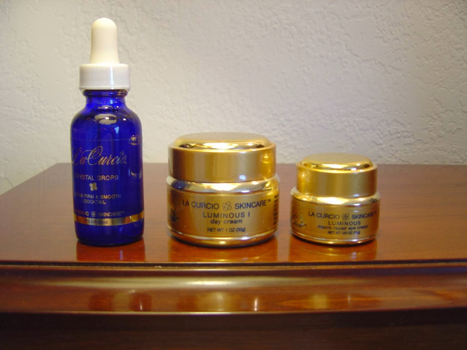 La Curcio Day Cream, Crystal Drops serum, and eye cream.jpeg