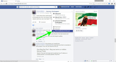 Drop down menu of a facebook post while viewing the post in facebook news feed