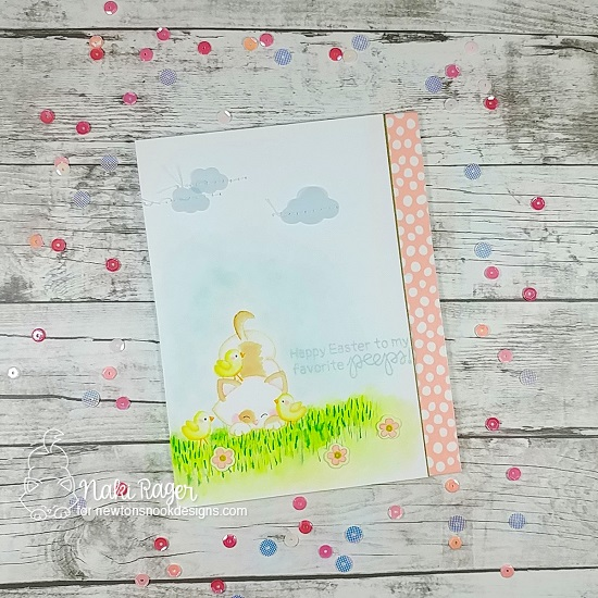 Kitty and chicks Card by Nakaba Rager| Newton's Peeps Stamp Set by Newton's Nook Designs #newtonsnook #handmade