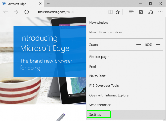 Tampilan Menu dari Microsoft Edge Windows 10