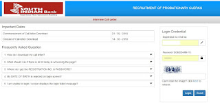 South Indian Bank Clerk Interview Call Letter