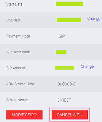 Reliance Mutual Fund - Online SIP Cancellation