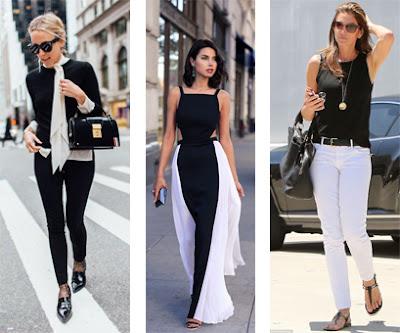 3 looks: Calças, sapatos e camisola pretos e blusa e lencho brancos | Vestido longo preto e branco | Calças brancas e top e sandálias rasas pretos.