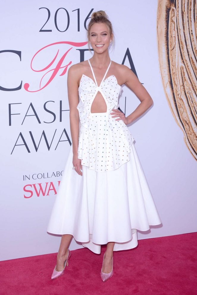 Karlie Kloss wears bejewelled heels to the CFDA Fashion Awards