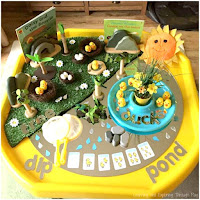 Duck Themed Tuff Tray. Duck Activities for Preschool. Spring Activities.