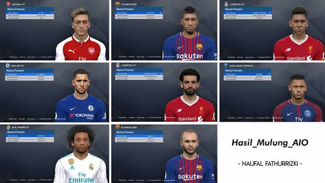 Facepack Update with Tattoo (50 Faces) PES 2017