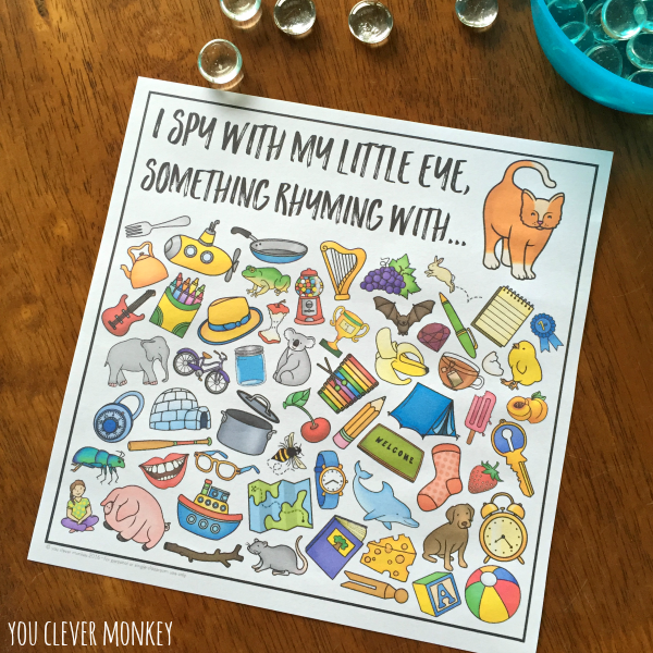 Printable Rhyming I Spy Game - ready to print this classroom game of  I Spy is a fun addition to your literacy center rotations or to play as a whole class | you clever monkey