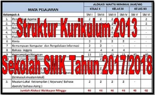 Struktur Kurikulum 2013 Sekolah SMK Tahun 2017/2018